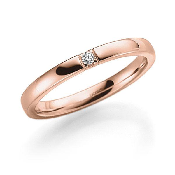 Memoire-Ring Rotgold 585 mit 0,03 ct. tw, vs