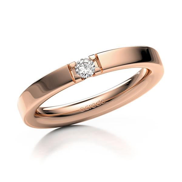 Memoire-Ring Rotgold 585 mit 0,1 ct. tw, vs