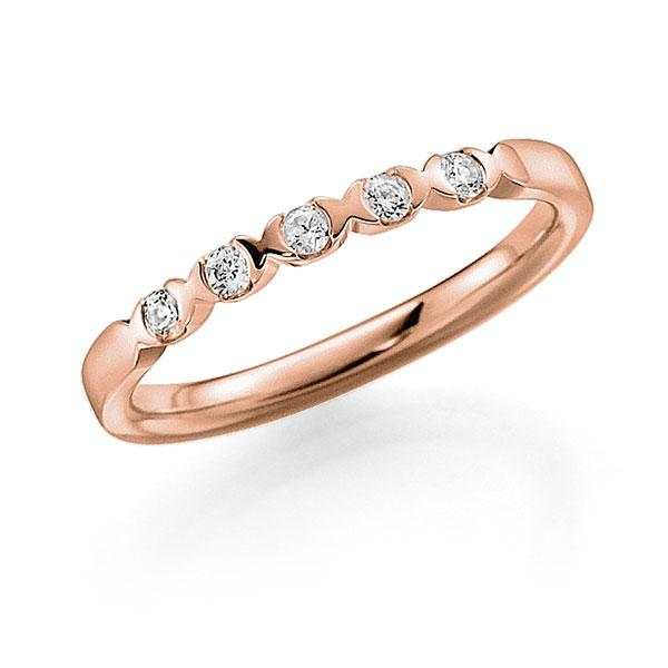 Memoire-Ring Rotgold 750 mit 0,1 ct. tw, vs