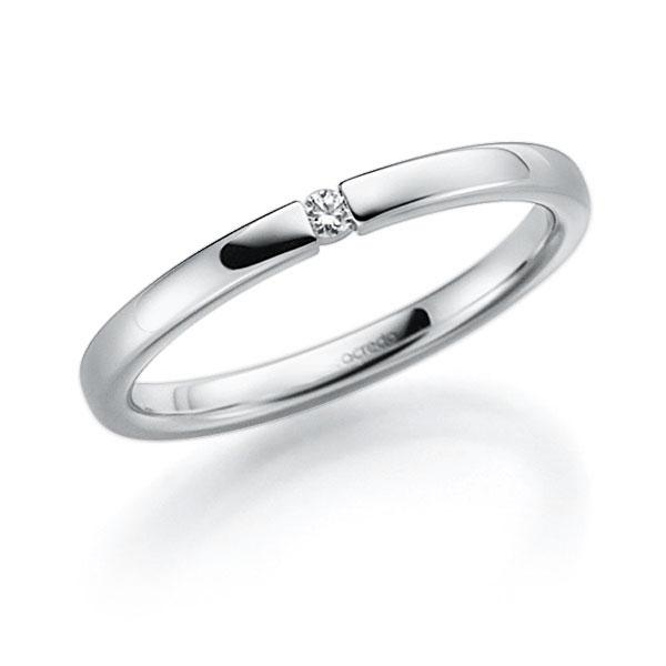 Memoire-Ring Weißgold 585 mit 0,02 ct. tw, vs