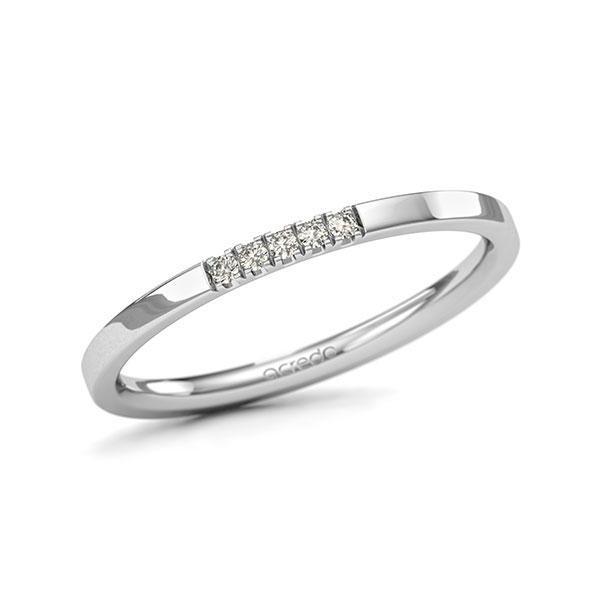 Memoire-Ring Weißgold 585 mit 0,05 ct. tw, si