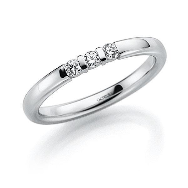 Memoire-Ring Weißgold 585 mit 0,06 ct. tw, vs