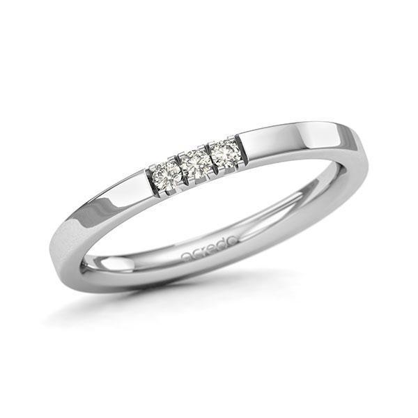 Memoire-Ring Weißgold 585 mit 0,09 ct. tw, si