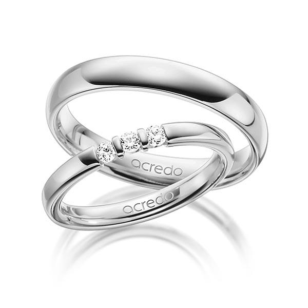 Memoire-Ring Weißgold 585 mit 0,15 ct. tw, vs