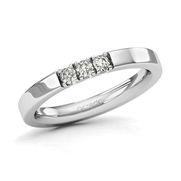 Memoire-Ring Weißgold 585 mit 0,18 ct. tw, si