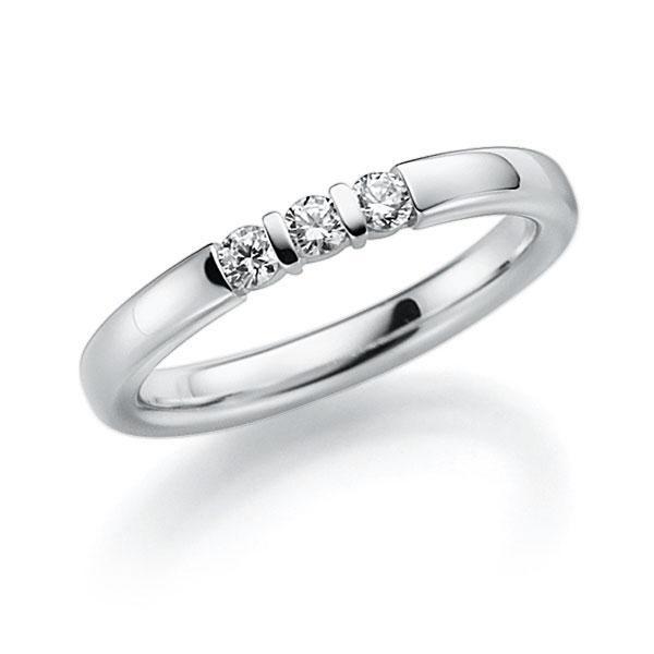 Memoire-Ring Weißgold 585 mit 0,18 ct. tw, vs