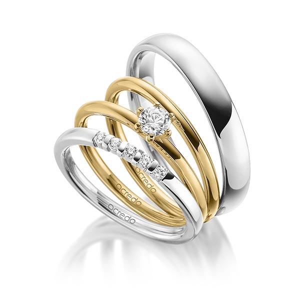 Memoire-Ring Weißgold 585 mit 0,1 ct. tw, vs