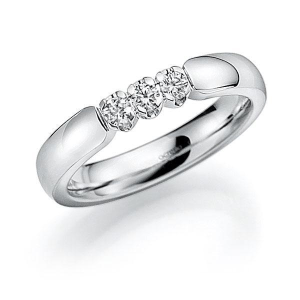 Memoire-Ring Weißgold 585 mit 0,21 ct. tw, vs