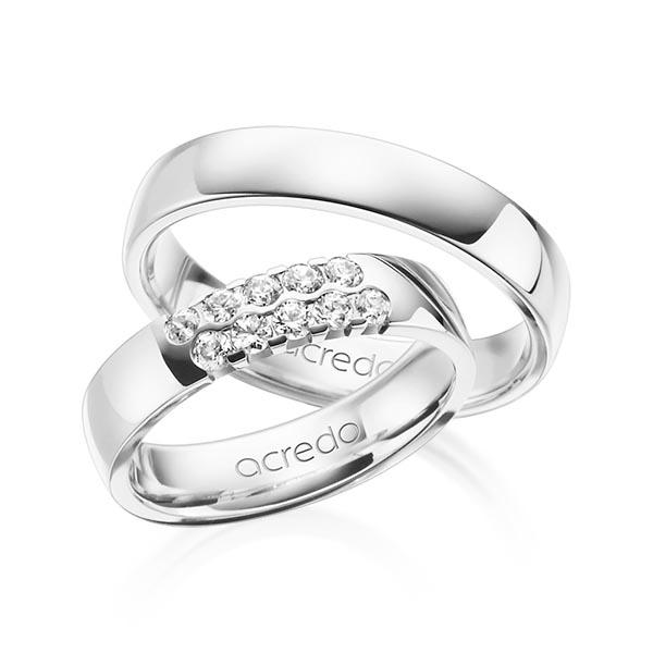 Memoire-Ring Weißgold 585 mit 0,4 ct. tw, vs