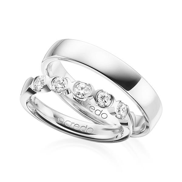 Memoire-Ring Weißgold 585 mit 0,5 ct. tw, vs