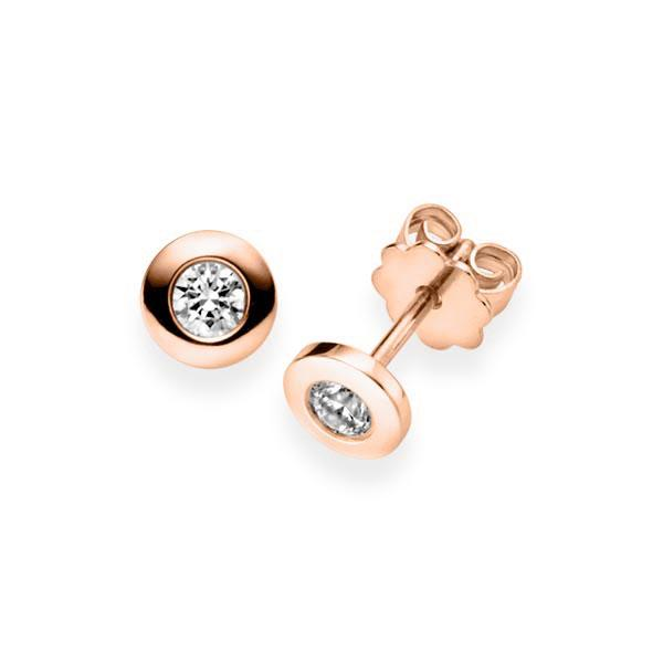 Ohrringe Ohrstecker Rotgold 585 mit 1 ct. G VS