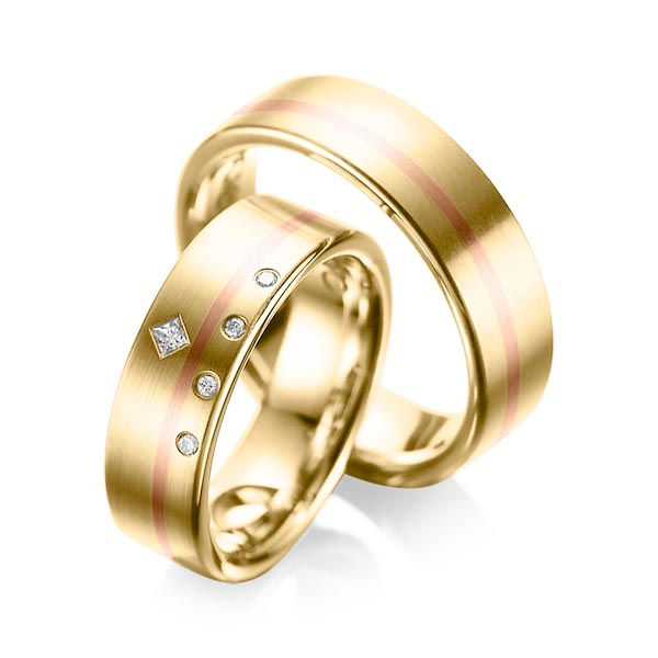 Trauringe Gelbgold 750 Rotgold 750 mit 0,07 ct. tw, si & tw, vs