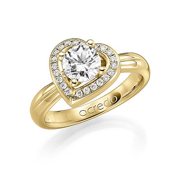 Verlobungsring Diamantring 0,4 ct. G SI & tw, si Gelbgold 750