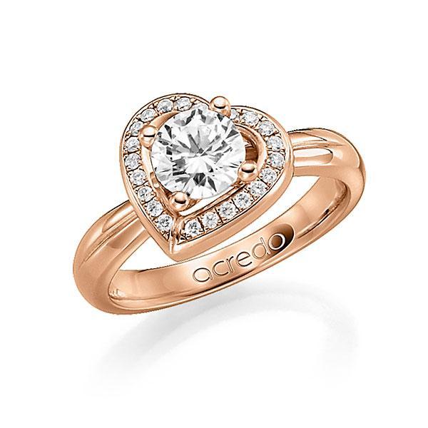 Verlobungsring Diamantring 0,4 ct. G SI & tw, si Rotgold 750