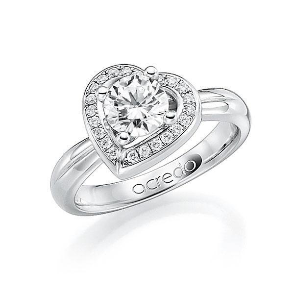 Verlobungsring Diamantring 0,4 ct. G SI & tw, si Platin 950