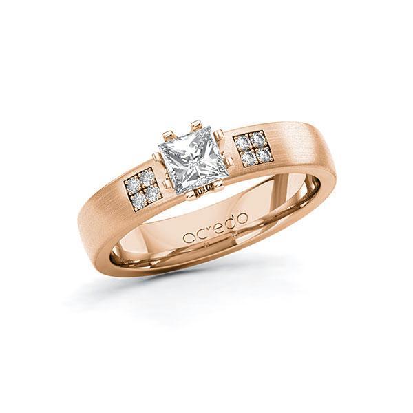 Verlobungsring Diamantring 0,564 ct. G VS & tw, si Rotgold 585