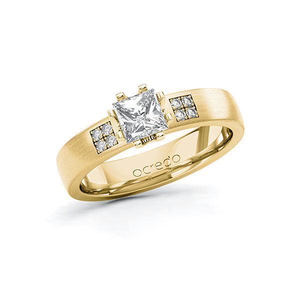 Verlobungsring Diamantring 0,764 ct. G VS & tw, si Gelbgold 585