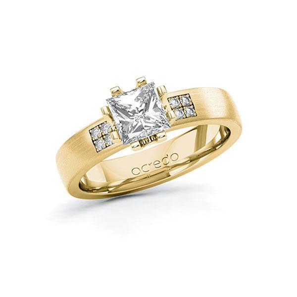 Verlobungsring Diamantring 1,064 ct. G VS & tw, si Gelbgold 750