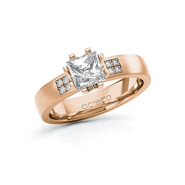 Verlobungsring Diamantring 1,064 ct. G VS & tw, si Rotgold 750