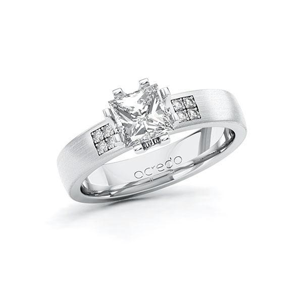 Verlobungsring Diamantring 1,064 ct. G VS & tw, si Platin 950