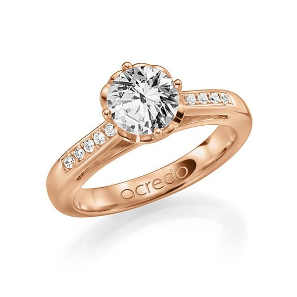 Verlobungsring Diamantring 0,4 ct. G SI & tw, si Rotgold 585