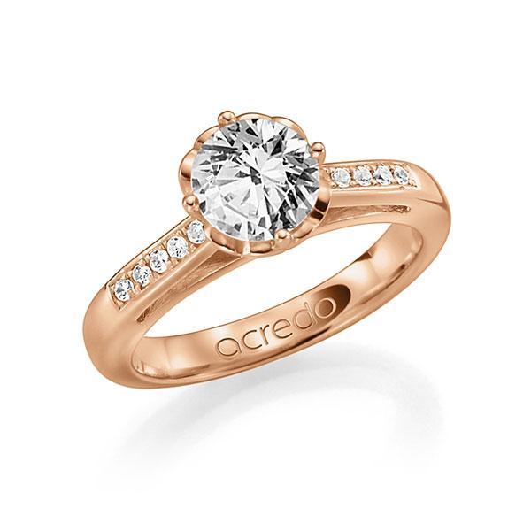 Verlobungsring Diamantring 0,5 ct. G SI & tw, si Rotgold 585