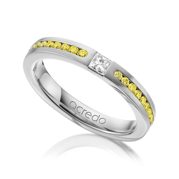 Trauringe Weißgold 585 mit 0,72 ct. tw, if & Canary Yellow