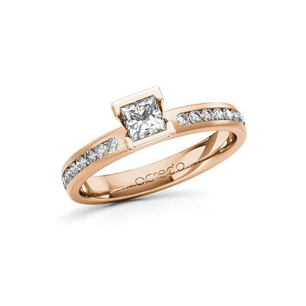 Verlobungsring Diamantring 0,64 ct. G VS & tw, si Rotgold 585
