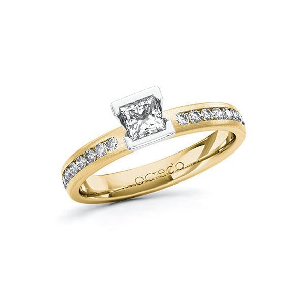 Verlobungsring Diamantring 0,64ct. G VS & tw, si Gelbgold 585 Weißgold 585