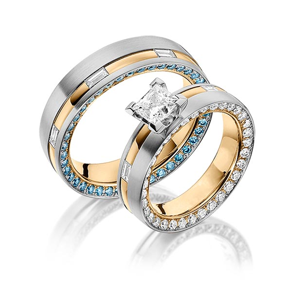 Trauringe Graugold 585 Roségold 585 2,3ct. r, if & G VS & Iceblue