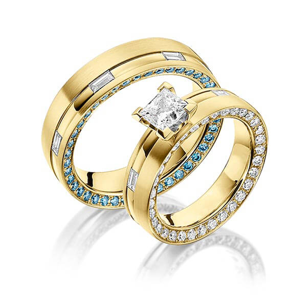 Trauringe Gelbgold 750, Gelbgold 750 2,3ct. r, if & Iceblue & G VS