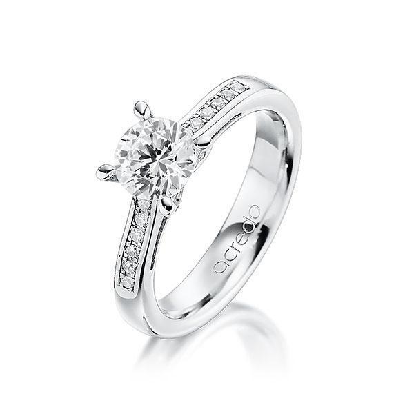 Verlobungsring Diamantring 0,596 ct. G VS & tw, si Weißgold 585