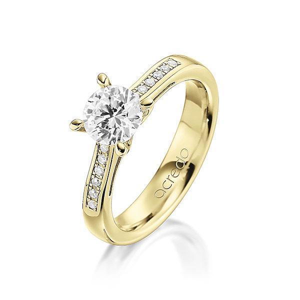 Verlobungsring Diamantring 0,596 ct. G VS & tw, si Gelbgold 585