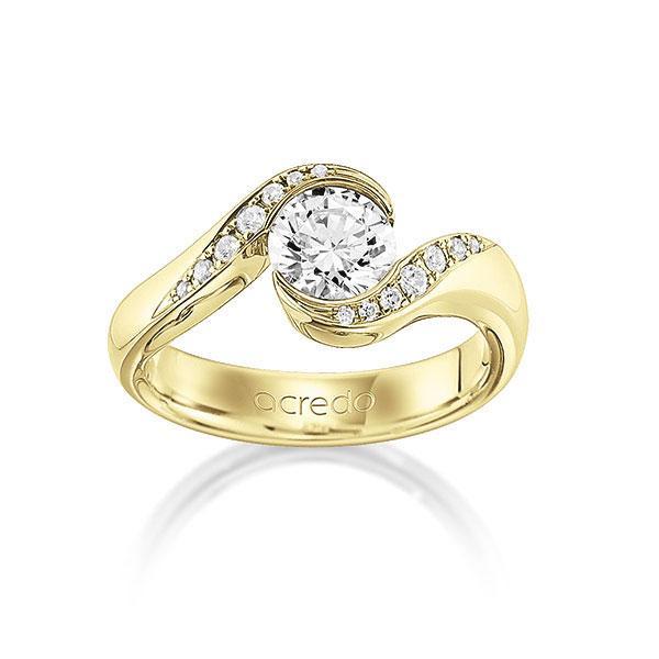 Verlobungsring Diamantring 0,84 ct. G VS & tw, si Gelbgold 585