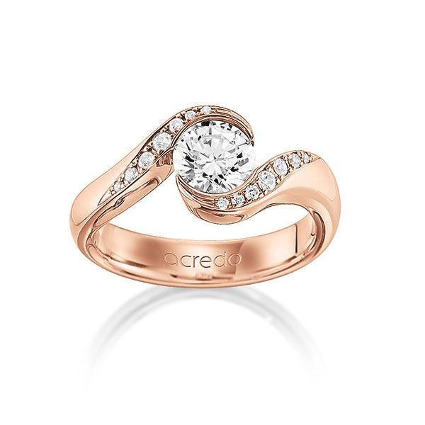 Verlobungsring Diamantring 0,84 ct. G VS & tw, si Rotgold 585