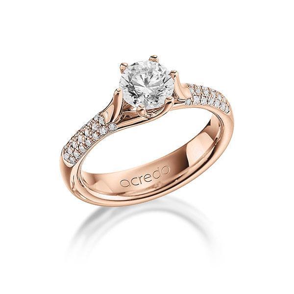 Verlobungsring Diamantring 1,21 ct. G VS & tw, si Rotgold 585