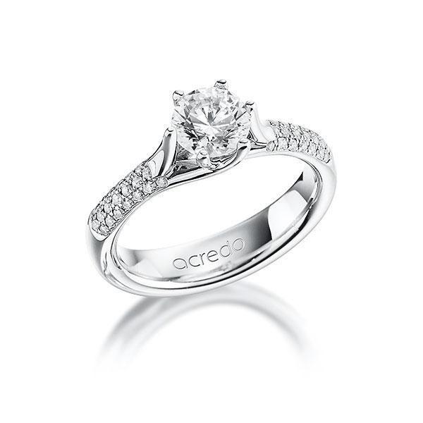 Verlobungsring Diamantring 0,91 ct. G VS & tw, si Platin 950
