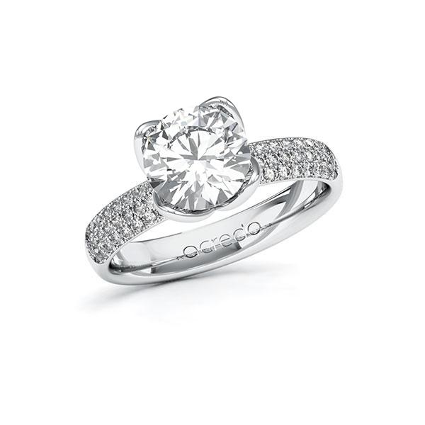 Verlobungsring Diamantring 2,432 ct. G VS & tw, si Weißgold 585