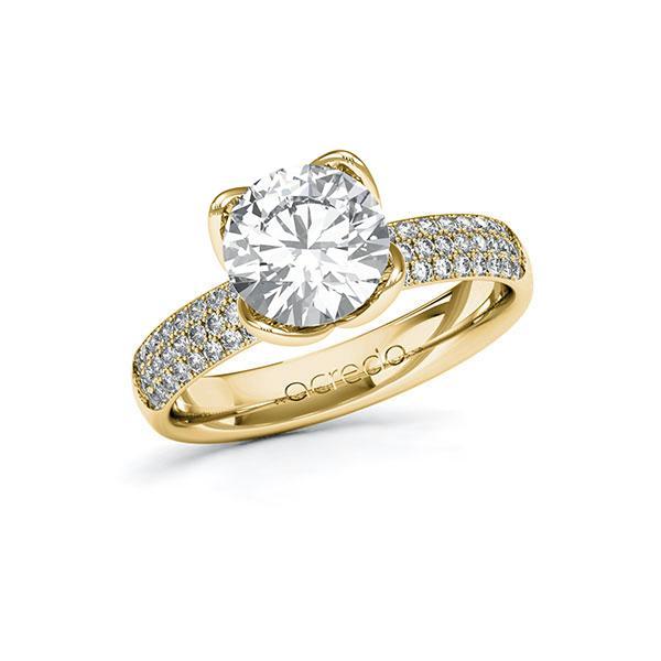 Verlobungsring Diamantring 2,432 ct. G VS & tw, si Gelbgold 585