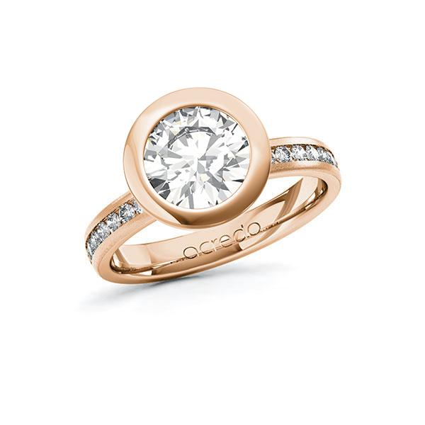 Verlobungsring Diamantring 2,24 ct. G VS & tw, si Rotgold 585