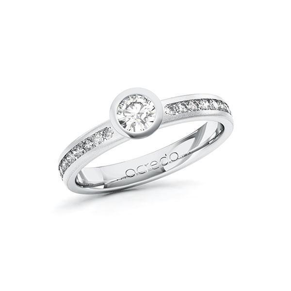 Verlobungsring Diamantring 0,54 ct. G SI & tw, si Weißgold 585