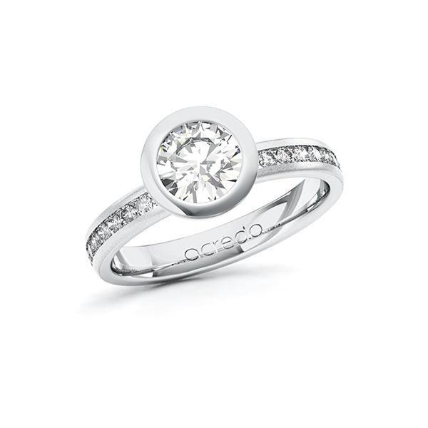 Verlobungsring Diamantring 1,24 ct. G VS & tw, si Weißgold 585