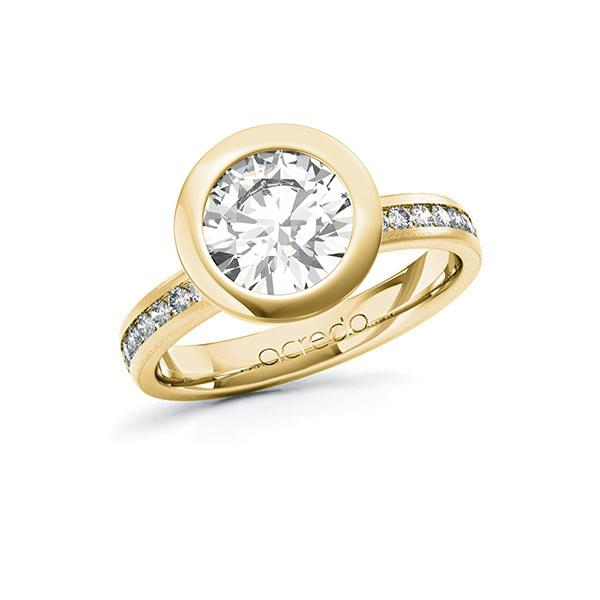 Verlobungsring Diamantring 2,24 ct. G VS & tw, si Gelbgold 585