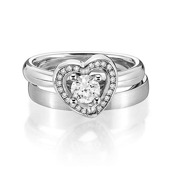 Verlobungsring Diamantring 0,4 ct. G SI & tw, si Weißgold 585