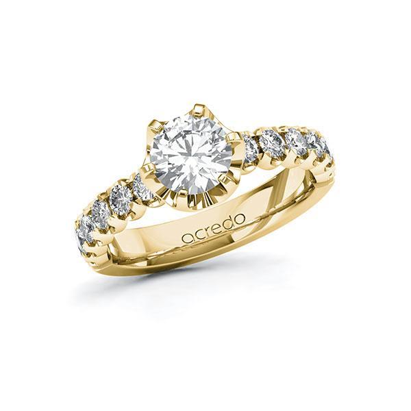 Verlobungsring Diamantring 1,6 ct. G SI & tw, si Gelbgold 585