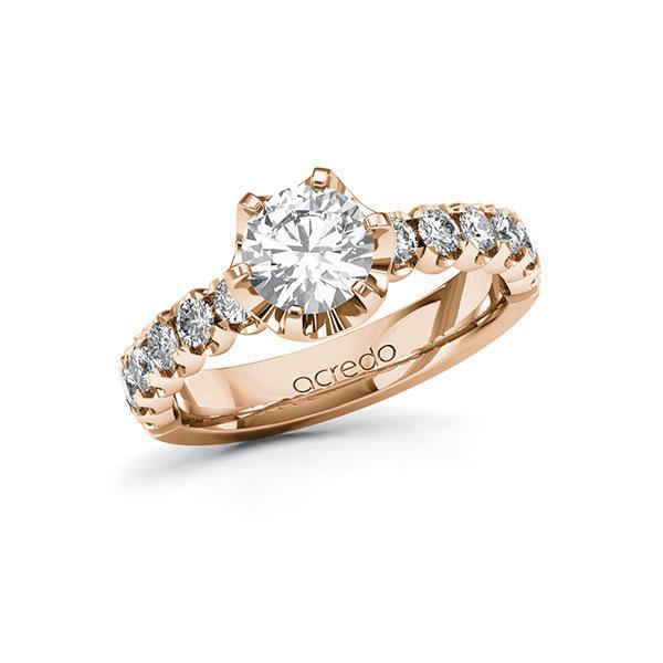Verlobungsring Diamantring 1,6 ct. G SI & tw, si Rotgold 585