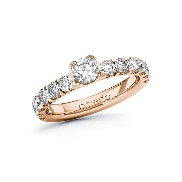 Verlobungsring Diamantring 1,48 ct. G SI & tw, si Rotgold 585