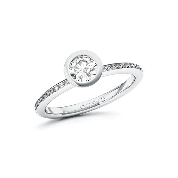 Verlobungsring Diamantring 0,65 ct. G SI & tw, si Weißgold 585