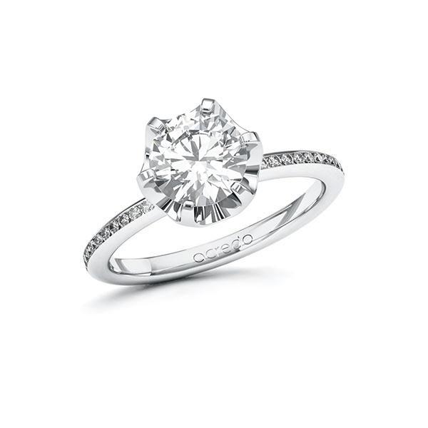 Verlobungsring Diamantring 1,65 ct. G VS & tw, si Weißgold 585
