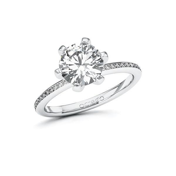 Verlobungsring Diamantring 2,15 ct. G VS & tw, si Weißgold 585